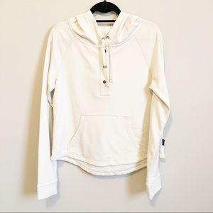 Patagonia beige hoodie sweatshirt with front snaps